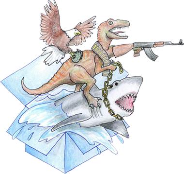 Epic box with an Eagle, Dinosaur with gun, and Shark