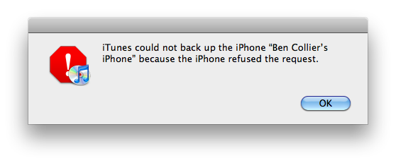 iTunes could not back up the iPhone because the iPhone refused the request