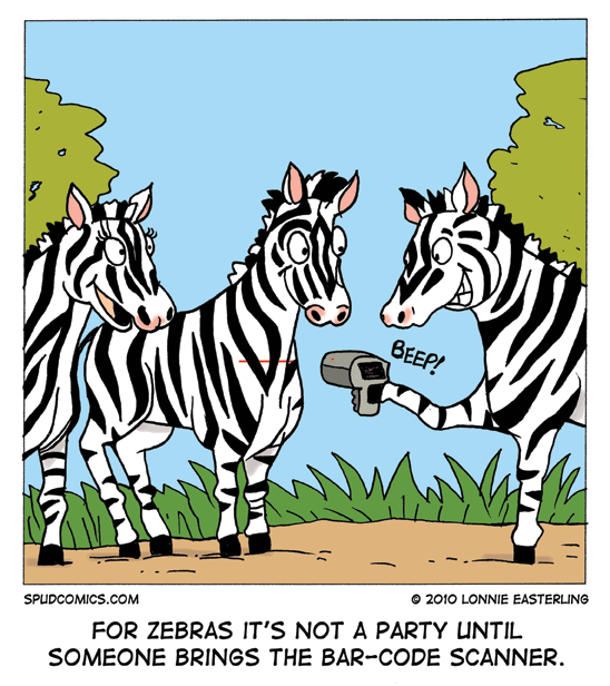 For zebras it's not a party until someone brings the barcode scanner cartoon