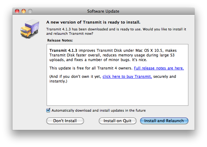 Transmit Update Screen - Install on Quit Option