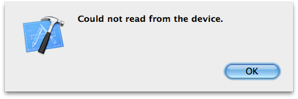 "Xcode Error - ""Could not read from device error"""