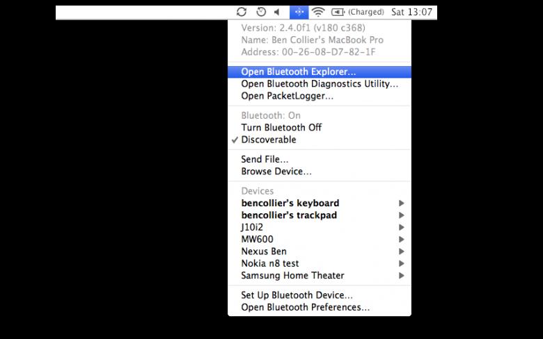 The hidden bluetooth menu - Open Bluetooth Explorer