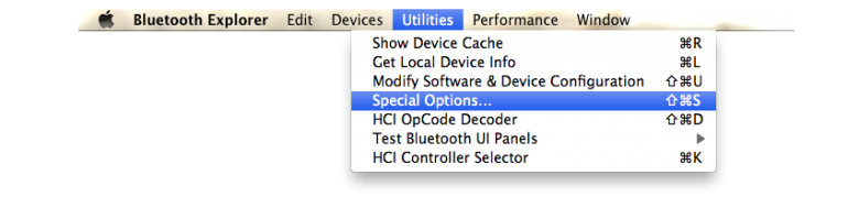 Utilities then Special Options