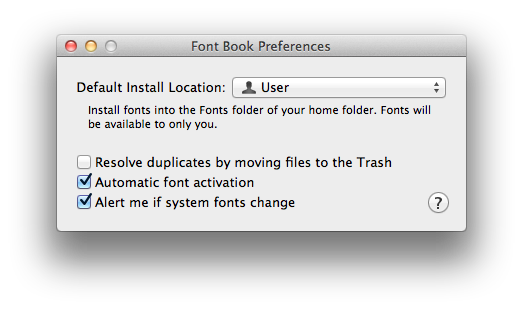 Font Book preference window
