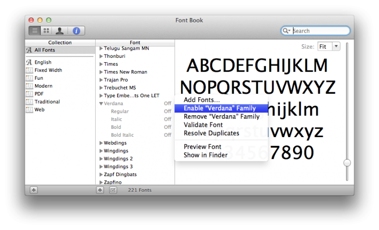 Enabling the Verdana font in the Font Book on Mac Lion