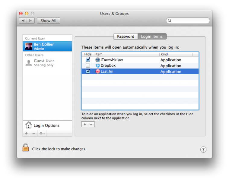 Mac System Preferences - adding last.fm to login items