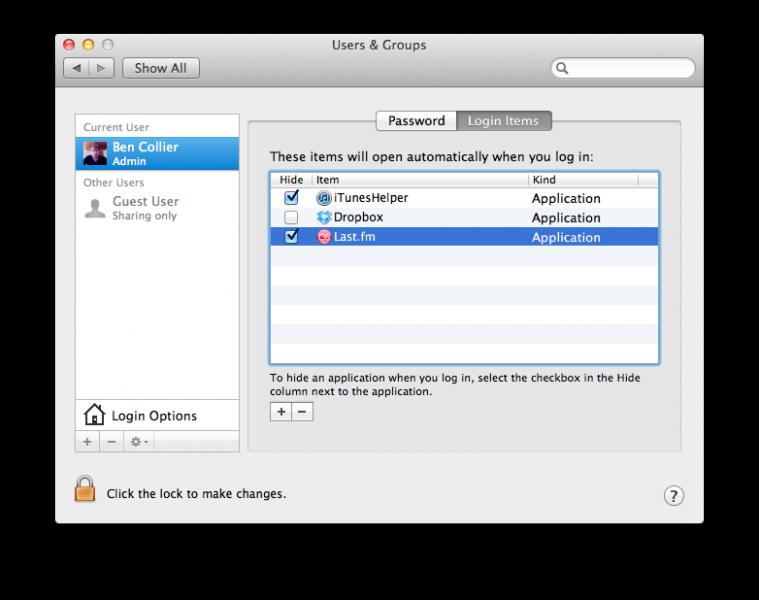 Mac System Preferences - adding last.fm to login items