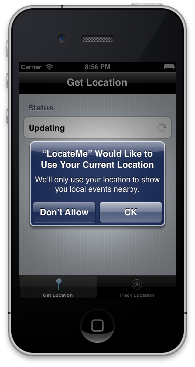 iOS iPhone Screen Location Prompt