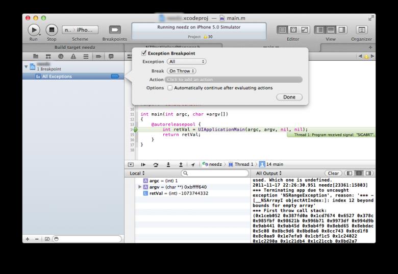 Xcode 4.2 Window