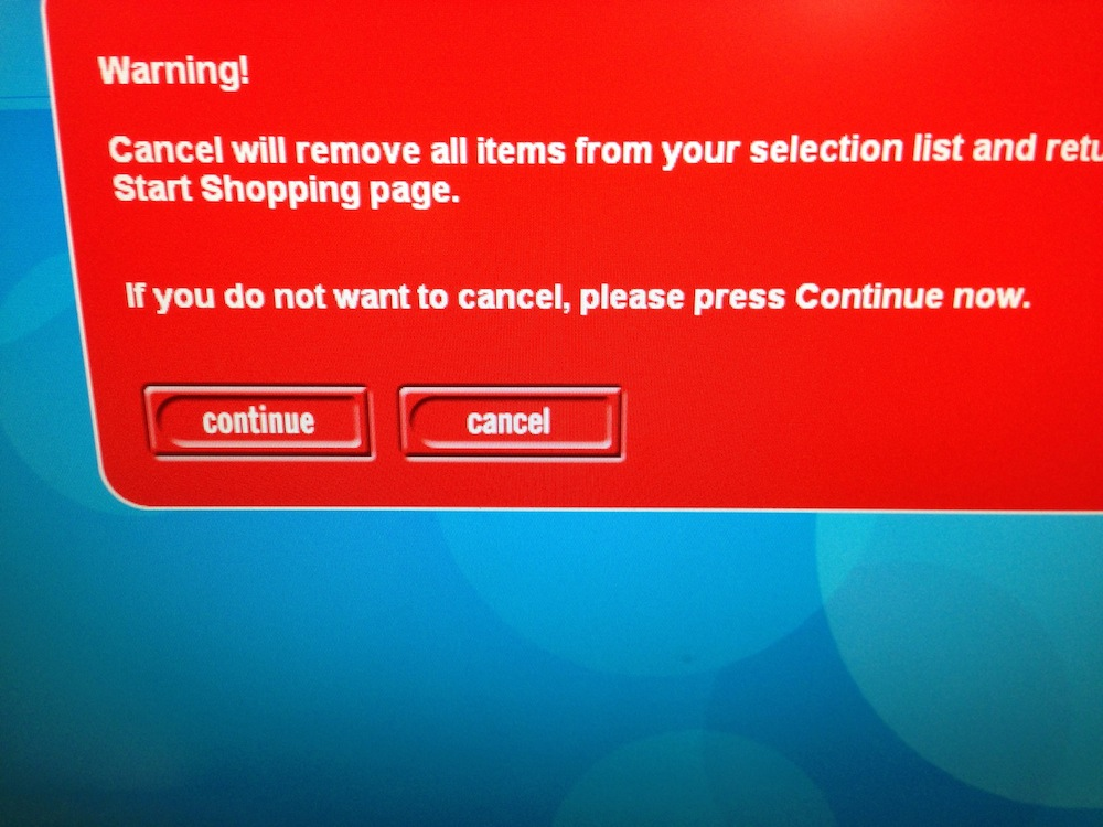 Argos: If you do not want to cancel, please press Continue now