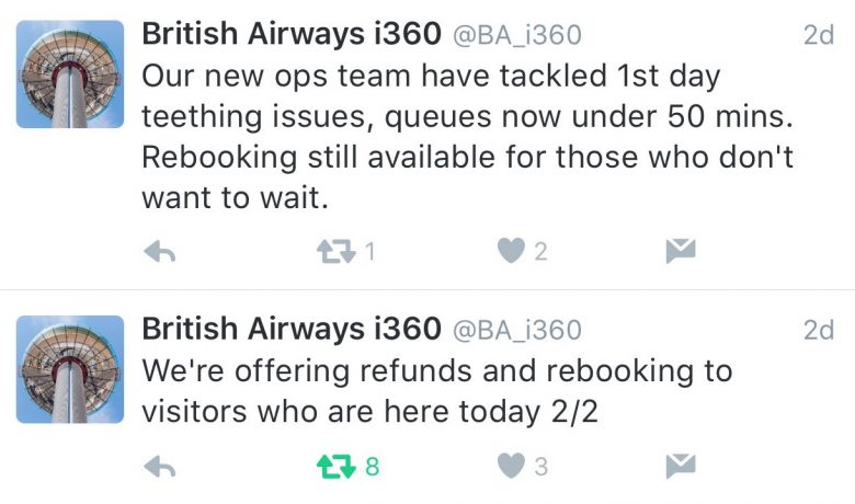 Brighton i360 deleted refund tweet