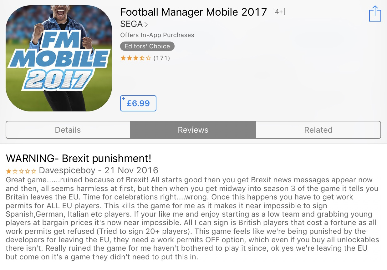Football Manager 2017 Brexit Review